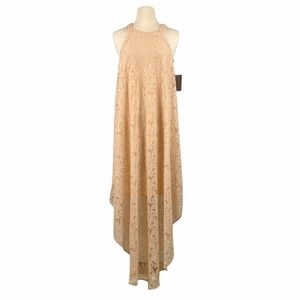Love Squared Beige Lace Overlay Maxi Dress Size M